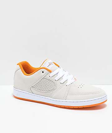 eS x The Nine Club Accel Slim zapatos de skate de ante naranja y blanca