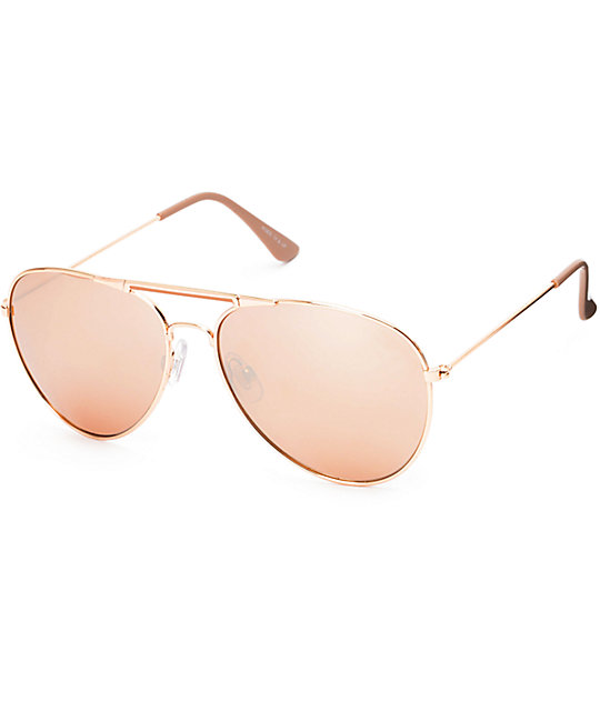 1db39ce03 Accomplice Rose Gold Aviator Sunglasses | Zumiez