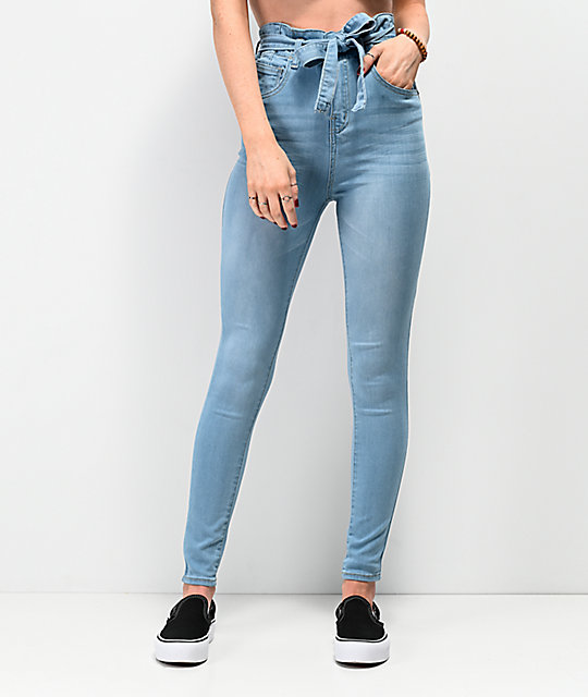 f59dd9960544 Almost Famous Light Wash Paper Bag Super High Waist Skinny Jeans | Zumiez