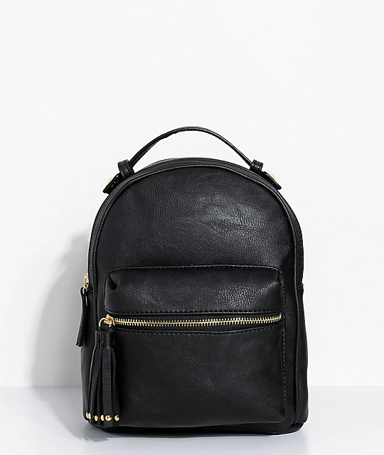 2165c74c3e Black Faux Leather Mini Backpack