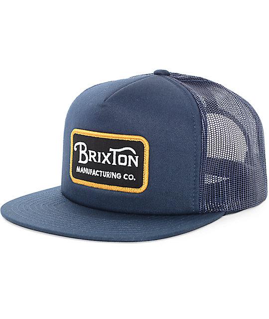 913519a74b2 Brixton Grade Navy & Gold Trucker Snapback Hat | Zumiez