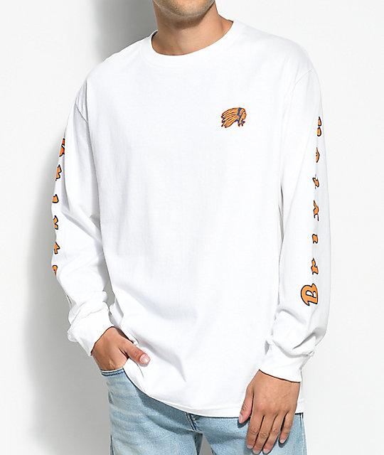 39a007b2c4df Brixton Primo White, Orange & Blue Long Sleeve T-Shirt | Zumiez