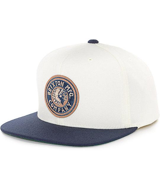 cd738bf7fb6600 Brixton Rival Off-White & Navy Snapback Hat | Zumiez