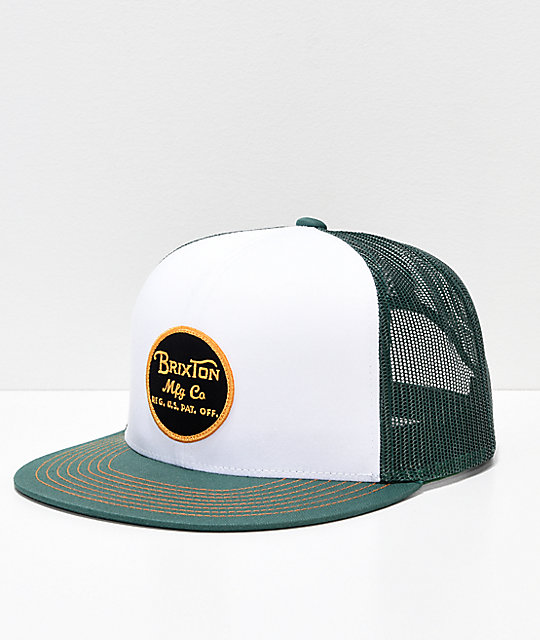 beaf18aad28 Brixton Wheeler Chive Green Mesh Snapback Hat   Zumiez