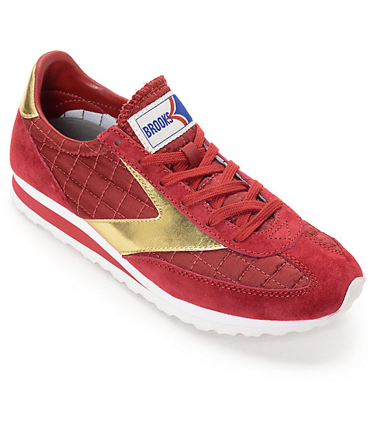 the latest 95760 444f1 Brooks Vanguard Imperial Red Dahlia & Gold Womens Shoes