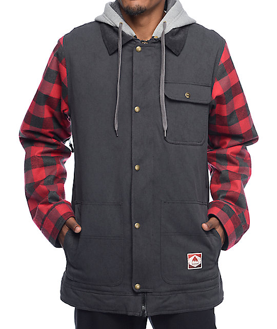 5cbad35411 Burton Dunmore Black & Plaid Jacket