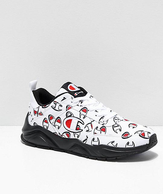 la moitié c0275 620eb Champion 93 Eighteen Repeat C White & Black Shoes