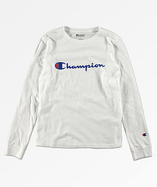 208ca442df72 Champion Boys Heritage White Long Sleeve T-Shirt | Zumiez