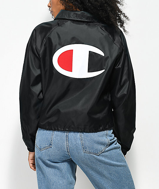 Champion Crop Black Coaches Jacket  c285905ffd