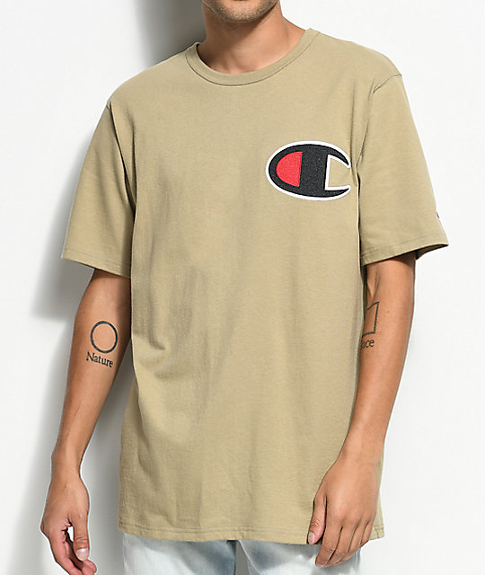 5094c58b9565 Champion Heritage Big C Khaki T-Shirt | Zumiez