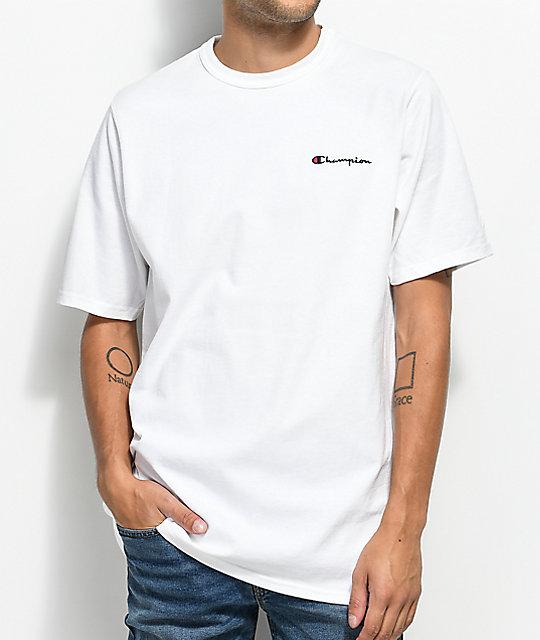 Champion Script Blanca Heritage Embroidered Camiseta 54R3qcAjL