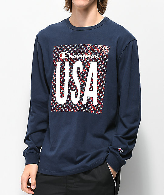 e5a4834bdc25 Champion Heritage USA Navy Long Sleeve T-Shirt | Zumiez