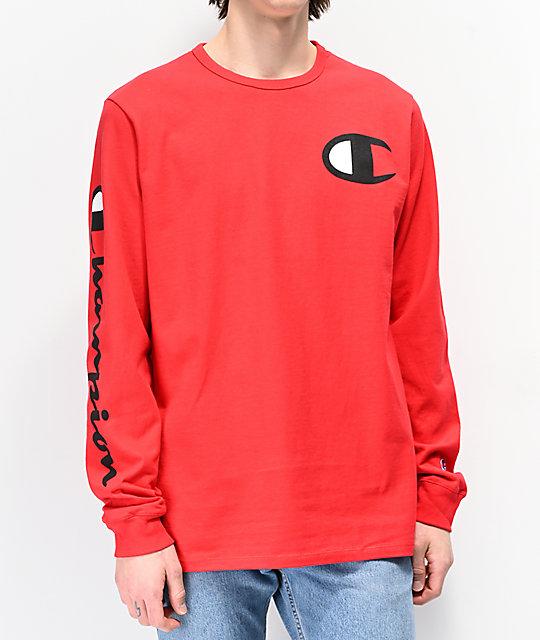 f2905b851e75 Champion Large C Red Long Sleeve T-Shirt | Zumiez