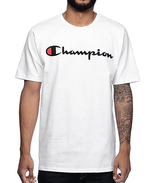 half off 8c32a 27da0 Champion Logo White T-Shirt   Zumiez