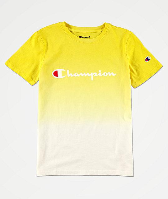 c33f9a597948 Champion Logo camiseta tie dye amarilla para niños | Zumiez