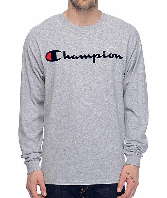 03e444b85ec43c Champion Patriotic Script Heather Grey Long Sleeve T-Shirt | Zumiez