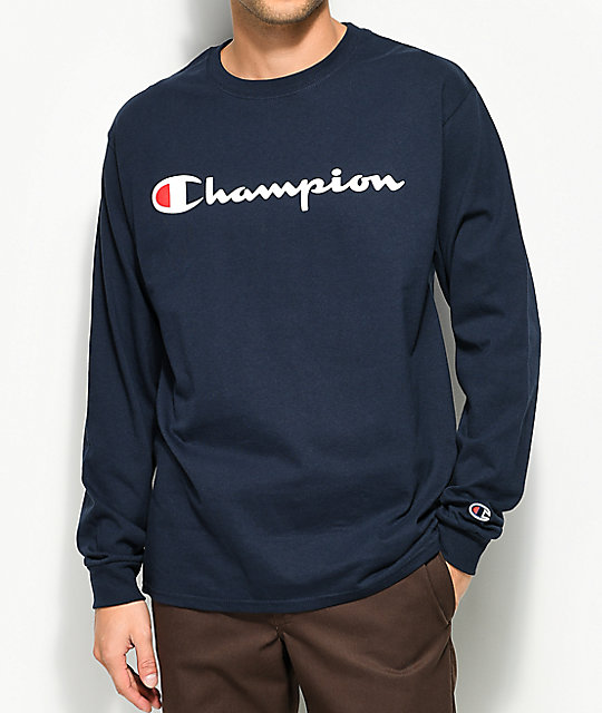 fd840a810116 Champion Patriotic Script Navy Long Sleeve T-Shirt | Zumiez
