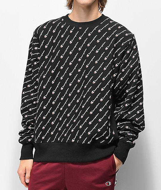 b1a08e39 Champion Reverse Weave All Over Print Black Crew Neck Sweatshirt   Zumiez