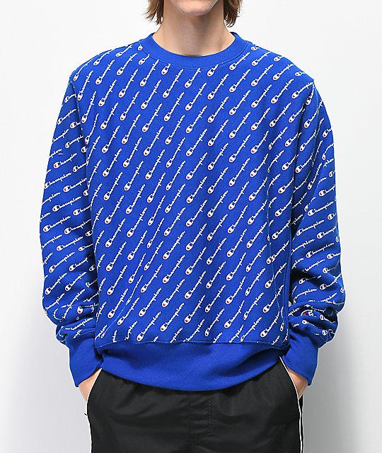 ef09f825 Champion Reverse Weave All Over Print Blue Crew Neck Sweatshirt   Zumiez