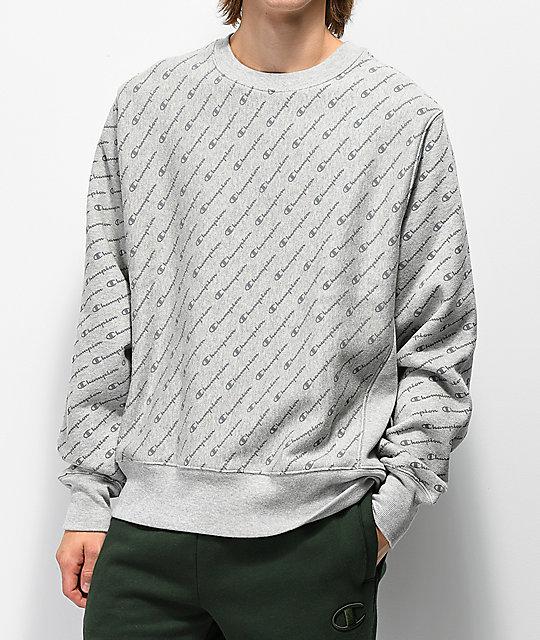 0a5c6e62 Champion Reverse Weave All Over Print Grey Crew Neck Sweatshirt   Zumiez