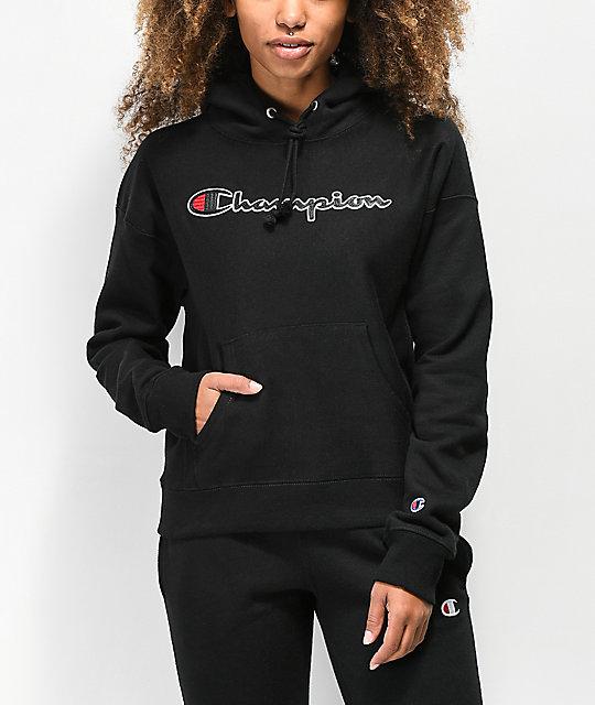 d242c4ea Champion Reverse Weave Chenille Logo Black Hoodie   Zumiez