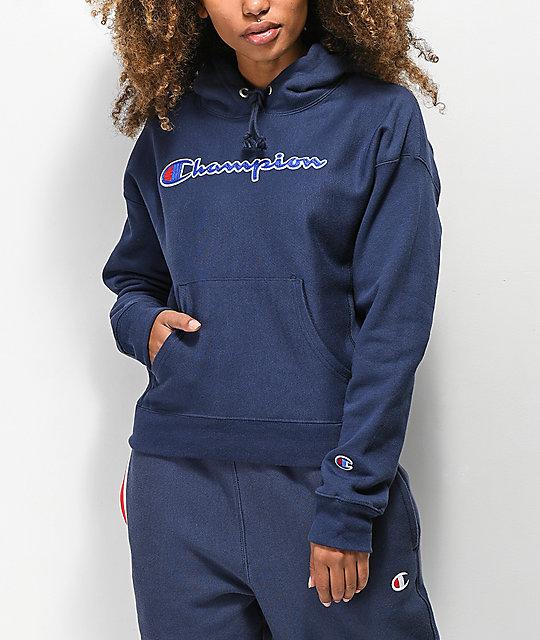 a926d992 Champion Reverse Weave Chenille Logo Indigo Hoodie   Zumiez
