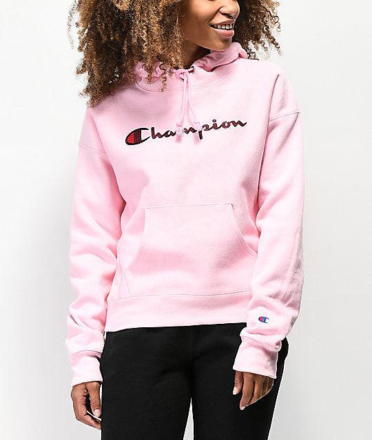 size 40 a2593 ccb7d Champion Reverse Weave Chenille Logo Pink Hoodie   Zumiez