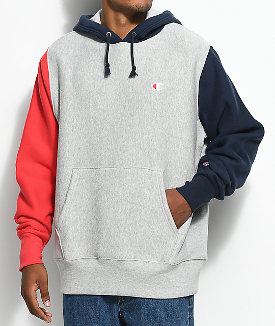finest selection a4e6e 2353e Champion Reverse Weave Colorblock Grey, Red   Navy Hoodie   Zumiez