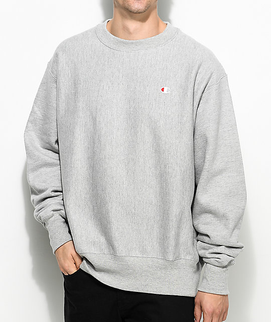 5c2b7164 Champion Reverse Weave Grey Crew Neck Sweatshirt | Zumiez