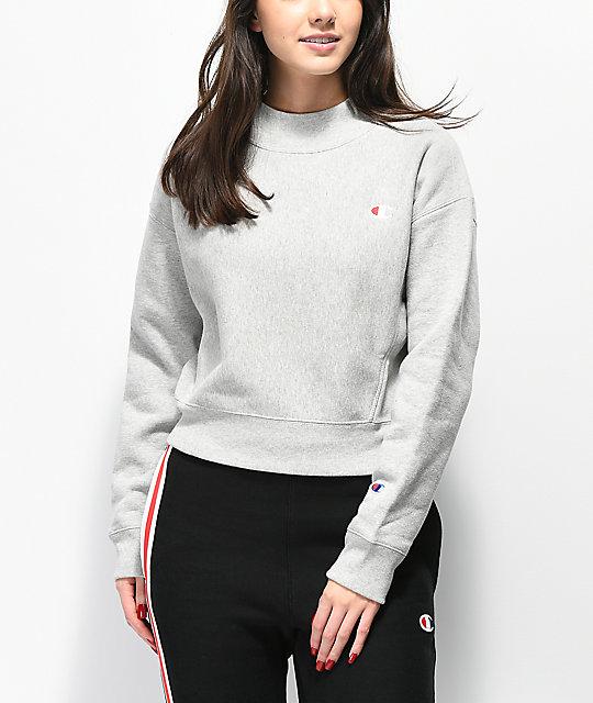 ae030280b Champion Reverse Weave Grey Mock Neck Crop Sweatshirt | Zumiez
