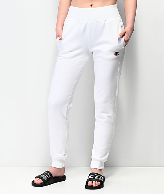 41308c544 Champion Reverse Weave White Jogger Sweatpants | Zumiez