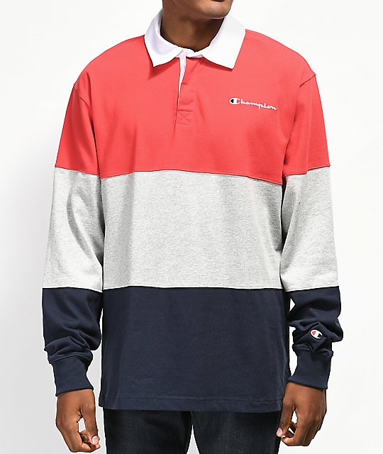 36185da1eeb7 Champion Rugby Red, Grey & Navy Long Sleeve T-Shirt | Zumiez