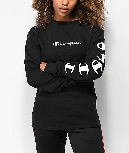30965f4a9071 Champion Script Black Long Sleeve T-Shirt | Zumiez