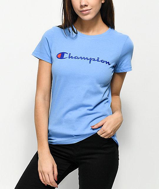 0a19805768cf Champion Script Blue T-Shirt | Zumiez