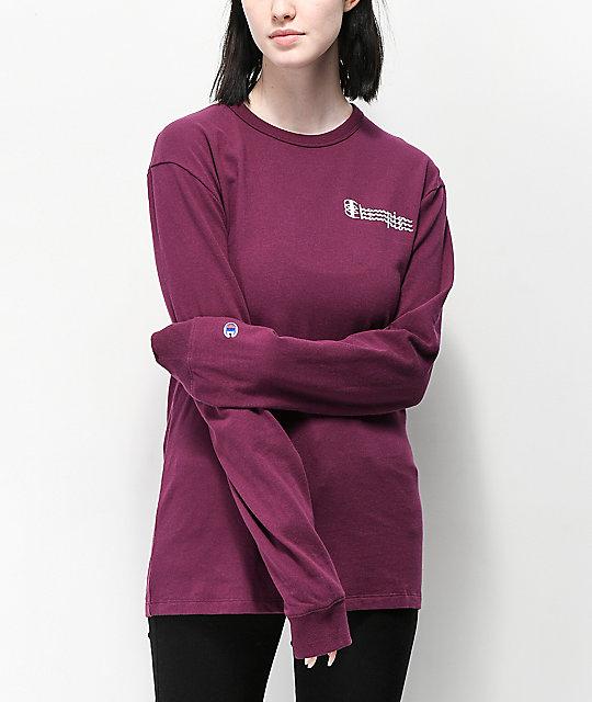 a68e5d1b4e9d Champion Script Dark Purple Long Sleeve T-Shirt | Zumiez