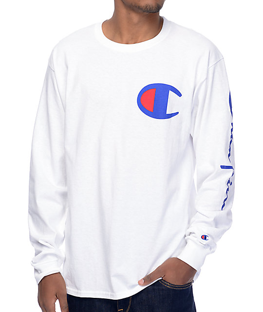 297d55d40a73 Champion Script Sleeve White Long Sleeve T-Shirt | Zumiez