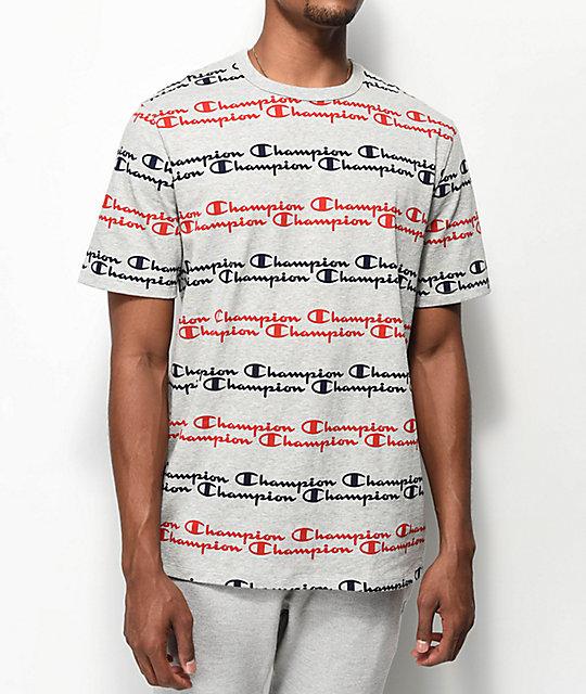 2160bce8095d15 Champion Script Stripe Heather Grey T-Shirt | Zumiez