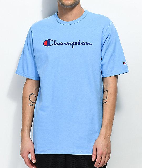 3d89f11ae707 Champion Script Swiss Blue T-Shirt | Zumiez