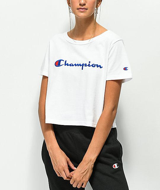 a428dfac6bac Champion Script White Crop T-Shirt | Zumiez