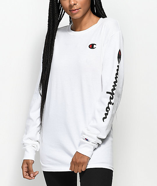a09d6680c6ca Champion Script White Long Sleeve T-Shirt | Zumiez