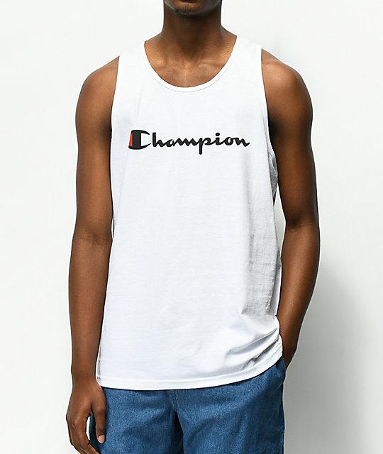 d7ba58013222 Champion Script White Tank Top | Zumiez