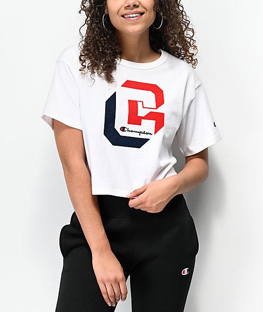 c84feb84d7b0 Champion Shadow C White Crop T-Shirt | Zumiez