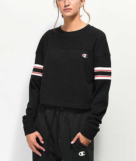 508e1d79ae89 Champion Stripe Black Crop Long Sleeve T-Shirt | Zumiez