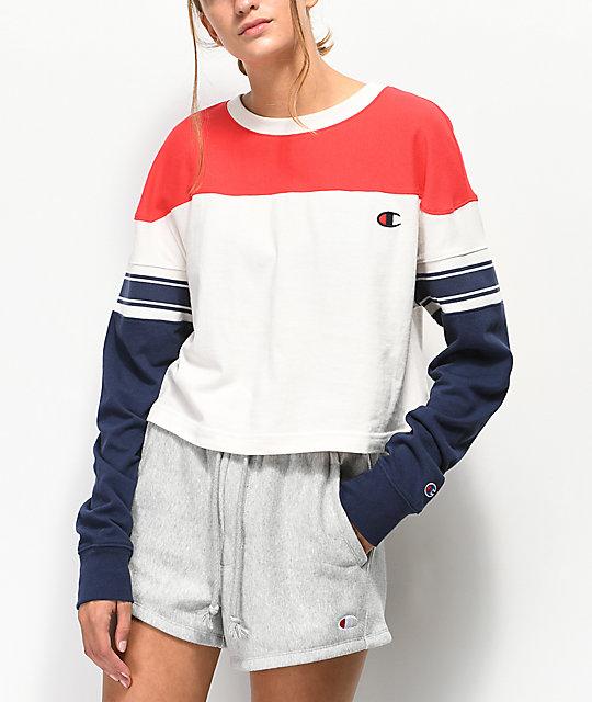 b3ef133ac1af Champion Stripe Red, White & Blue Crop Long Sleeve T-Shirt | Zumiez