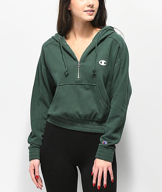 1ea738449 Champion Vintage Dyed Fleece Half-Zip Green Hoodie | Zumiez
