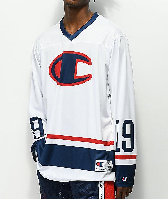 huge discount aaa4e ec246 Champion White Long Sleeve Hockey Jersey