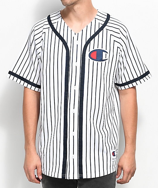 101672a15faf Champion White Striped Baseball Jersey | Zumiez