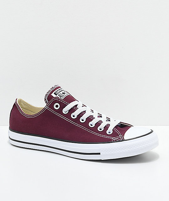 6aca93f54d Converse Chuck Taylor All Star Ox Burgundy & White Shoes | Zumiez