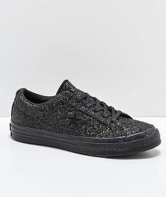 8022ed8f4a4 Converse One Star Black Sparkle Skate Shoes
