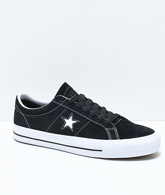 91c1e42559 Converse One Star Pro Black & White Suede Skate Shoes